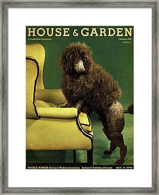 A House And Garden Cover Of A Poodle Framed Print by Anton Bruehl