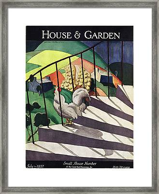 A House And Garden Cover Of A Rooster Framed Print