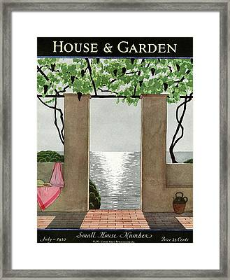 A House And Garden Cover Of A Seaside Patio Framed Print by Andr? E.  Marty