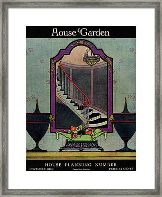 A House And Garden Cover Of A Staircase Framed Print by Harry Richardson