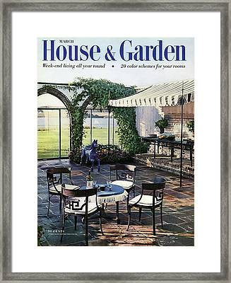 A House And Garden Cover Of A Terrace In East Framed Print by Wiliam Grigsby