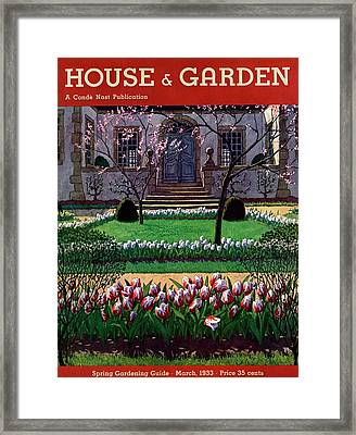 A House And Garden Cover Of A Tulip Garden Framed Print by Pierre Brissaud