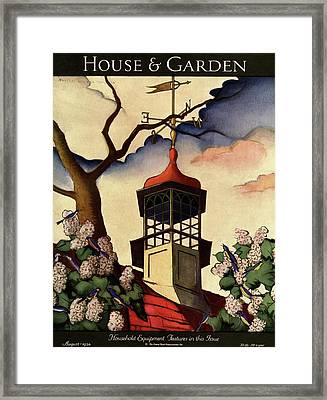 A House And Garden Cover Of A Weathervane Framed Print by Bradley Walker Tomlin