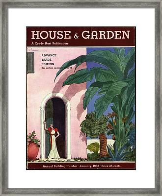 A House And Garden Cover Of A Woman In A Doorway Framed Print by Georges Lepape