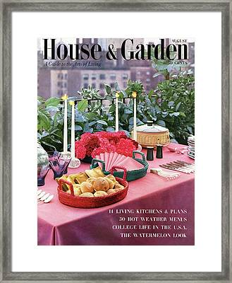 A House And Garden Cover Of Al Fresco Dining Framed Print by Wiliam Grigsby