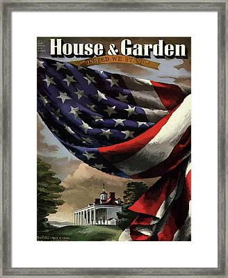 A House And Garden Cover Of An American Flag Framed Print by Allen Saalburg