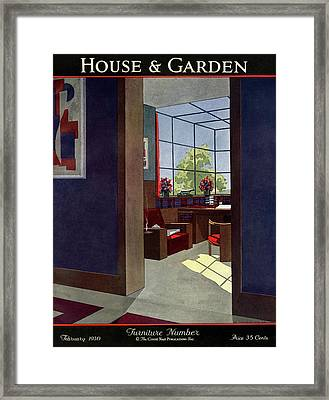 A House And Garden Cover Of An Interior Framed Print by Jean Pages