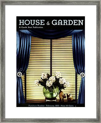 A House And Garden Cover Of Flowers By A Window Framed Print by Anton Bruehl