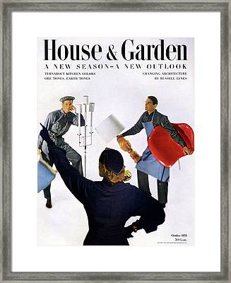 A House And Garden Cover Of People Moving Framed Print by Horst P. Horst