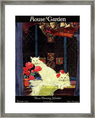 A House And Garden Cover Of White Cats Framed Print