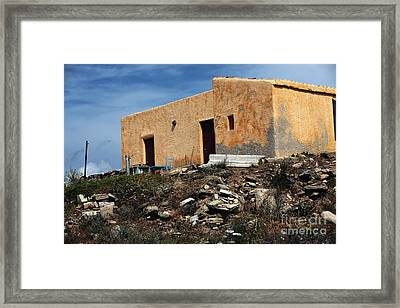 A House On Delos Framed Print by John Rizzuto