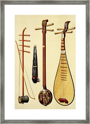 A Huqin And Bow, A Sheng, A Sanxian Framed Print by Alfred James Hipkins