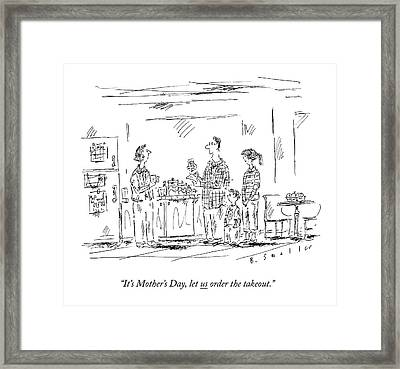 A Husband And Children Speak To A Mother Framed Print