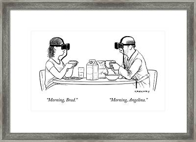 A Husband And Wife At The Breakfast Table Both Framed Print