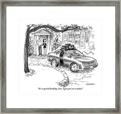 A Husband And Wife Stand In The Doorway Looking Framed Print