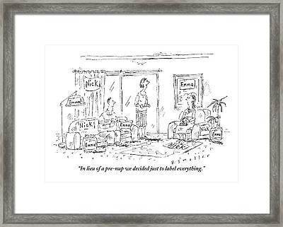A Husband And Wife Talk To A Friend Framed Print by Barbara Smaller