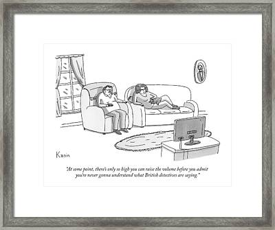 A Husband And Wife Watch Television Framed Print