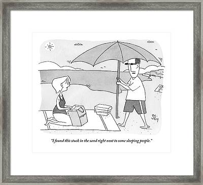 A Husband Returns To His Wife At The Beach Having Framed Print