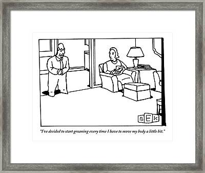 A Husband Says To His Wife In Their Livingroom Framed Print