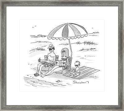 A Husband, Wife, And Their Toddler Sit Framed Print