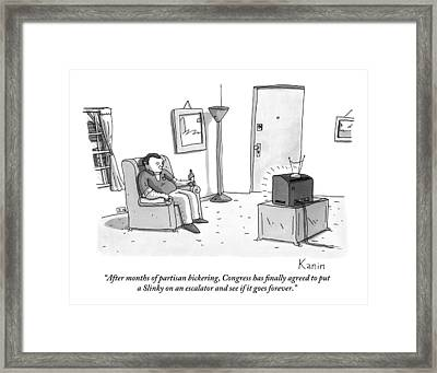 A Jaded-looking Man Sits In His Living Room Framed Print by Zachary Kanin