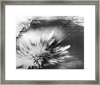 A Japanese Bomb Explodes On The Flight Deck Of The Uss Enterprise Framed Print