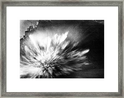 A Japanese Bomb Explodes On The Flight Framed Print by Everett
