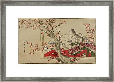 A Japanese Court Lady Admiring Plum Bloss Framed Print by British Library
