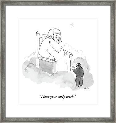 A Jew Talks To God On His Throne In Heaven Framed Print