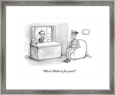 A Job Interviewer Asks Waldo Framed Print by Jason Adam Katzenstein
