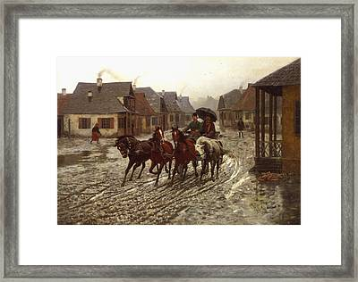 A Journey In The Rain Framed Print