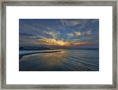 Framed Print featuring the photograph a joyful sunset at Tel Aviv port by Ron Shoshani