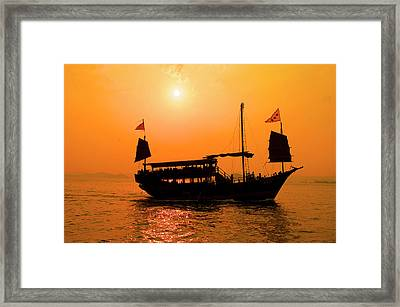 A Junk Sails Through Aberdeen Harbor Framed Print