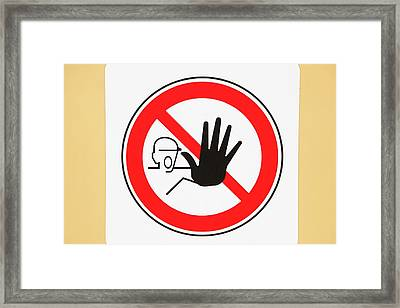 A Keep Off Sign On A Low Loader Framed Print