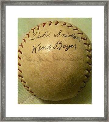 A Ken Boyer And Duke Snider Autograph Baseball Framed Print by Lois Ivancin Tavaf