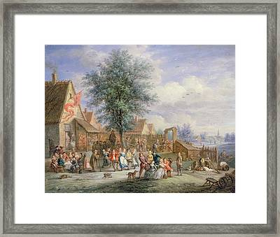 A Kermesse On St. Georges Day Framed Print by Angel-Alexio Michaut