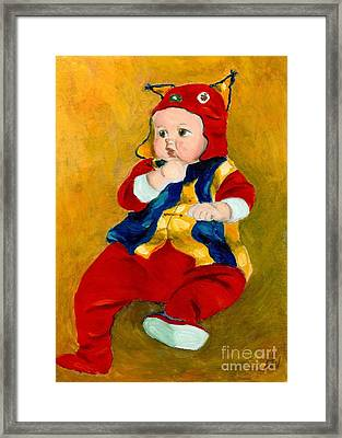 Framed Print featuring the painting A Kid Wearing Two Cultural Traditions by Jingfen Hwu