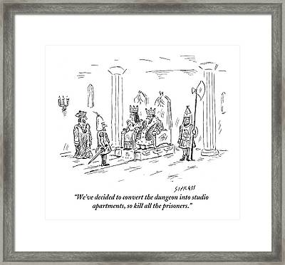 A King And Queen In The Royal Court Give Orders Framed Print
