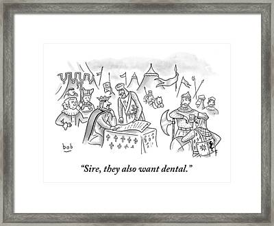 A King Is Presented With A Petition As Knights Framed Print by Bob Eckstein