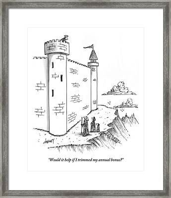 A King Looks Over The Parapet Of His Castle Framed Print