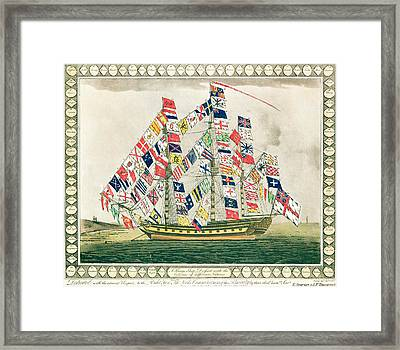 A King S Ship Dressed With The Colours Of Different Nations 6th October 1794 Framed Print by English School