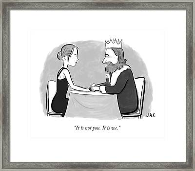 A King Speaks To A Woman Framed Print