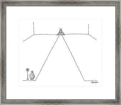 A King Stands At A Bus Stop Framed Print
