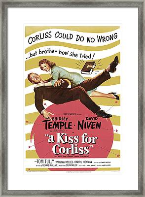 A Kiss For Corliss, Us Poster, David Framed Print