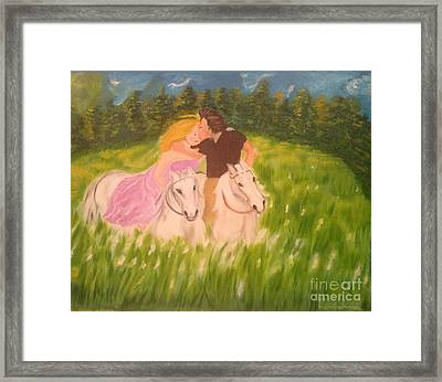 Framed Print featuring the painting A Kiss - On Horseback by Brindha Naveen