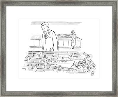 A Laboratory Scientist Looks On As The Walls Framed Print by Paul Noth