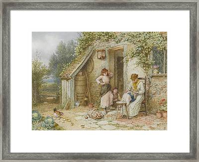 A Lacemaker Framed Print by Myles Birket Foster