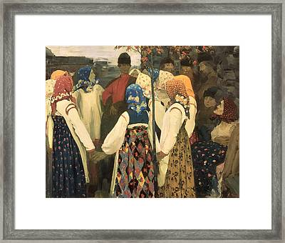A Lad Has Wormed His Way Into The Girls Round Dance, 1902 Framed Print by Andrei Petrovich Ryabushkin
