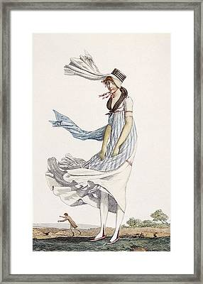 A Ladies Summer Promenade Dress, 1800 Framed Print by Philibert Louis Debucourt