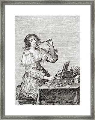 A Lady At Her Toilette, After A 17th Century Engraving By Le Blond.  From Illustrierte Framed Print by Bridgeman Images
